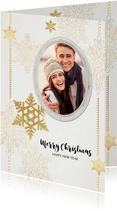 Kerstkaart sterren en fotolijst goud beige