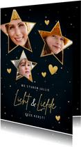Kerstkaart sterren, foto's, hartjes en tekst liefde & licht