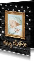 Kerstkaart sterren lijst foto baby