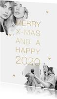 Kerstkaart stijlvol goud foto's hartjes
