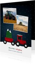 Kerstkaart tractor met foto's en sneeuw agrarisch
