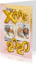 Kerstkaart trendy ballonen goud xmas op marmer