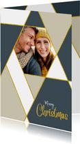 Kerstkaart trendy ruiten en aanpasbare achtergrondkleur