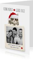 Kerstkaart van een poesje met fotolijst