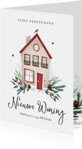 Kerstkaart verhuisd huisje roodborstje kerst takjes foto