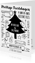 Kerstkaart verhuiskaart zwart-wit handlettering