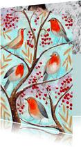 Kerstkaart vogel illustratie in een boom met besjes