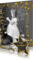 Kerstkaart vrolijk fotokader met goudkleurige sterren