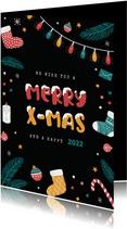 Kerstkaart vrolijk winter kerst merry x-mas kerstbal sokken