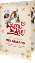 Kerstkaart 'Warm wishes' eigen foto