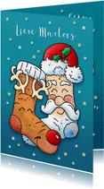 Kerstkaart warme sokken pyjamadag