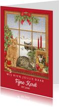 Kerstkaart wij hier jullie daar fijne kerst dit jaar katten