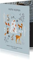 Kerstkaart winter wonderland dieren en kerstboom