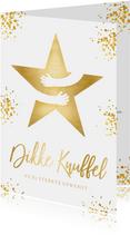 Kerstkaart wit - dikke knuffel ster in goud met omarming