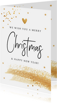 Kerstkaart wit goudlook confetti brush