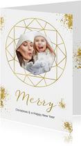 Kerstkaarten - Kerstkaart wit goudspetters en diamant met foto