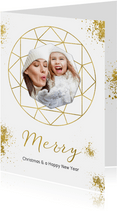 Kerstkaart wit goudspetters en diamant met foto