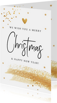 Kerstkaart wit met gouden confetti en brushstrook