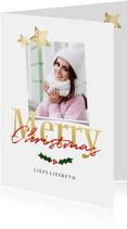 Kerstkaart wit staand - een gouden kerst