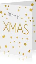 Kerstkaart XMAS confetti goud