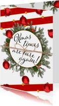Kerstkaart Xmas is here again staand