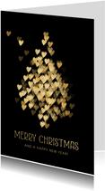 Kerstkaart zakelijk kerstboom hartjes