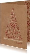 Kerstkaart zakelijk kerstboom met symbooltjes