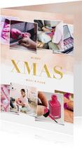 Kerstkaart zakelijk rosé gouden waterverf met fotocollage