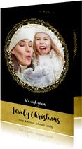 Kerstkaart zwart goud cirkels sterren en confetti