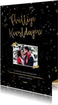 Kerstkaart zwart met foto en goud
