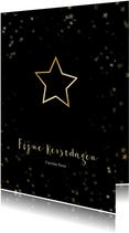 Kerstkaart zwart met kerstster van goud - Een gouden kerst