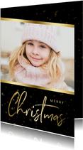 Kerstkaart zwart sterren met gouden accent en foto