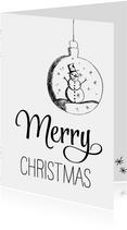 Kerstkaart zwart wit kerstbal met sneeuwpop