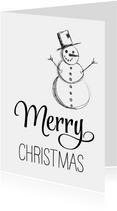 Kerstkaart zwart wit sneeuwpop Merry Christmas