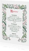 Kerstmenu kaart dennetakjes elegant