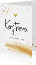 Kerstmenukaart confetti goudlook