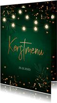 Kerstmenukaart donkergroen confetti koperlook