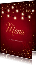 Kerstmenukaart lampjes confetti goudlook rood