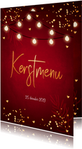 Kerstmenukaart lampjes confetti goudlook
