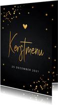 Kerstmenukaart zwart goudlook confetti