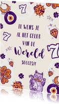 KiKa succeskaart met illustraties die geluk brengen