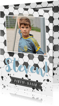 Kinderfeest uitnodiging voetbal met eigen foto