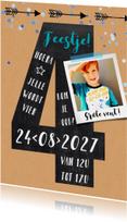 Kinderfeestje 4 jaar krijtbord jongen karton