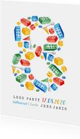 kinderfeestje 8 jaar lego party vrolijk kleurrijk
