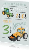 Kinderfeestje boerderij tractor grafamachine stoer jongen