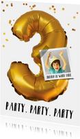 Kinderfeestje drie jaar goud confetti voor jongen  of meisje