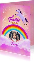 Kinderfeestje eenhoorn met regenboog