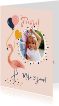 Kinderfeestje flamingo met ballonnen