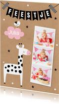 Kinderfeestje giraf meisje fotocollage