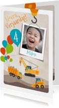 Kinderfeestje graafmachine uitnodiging